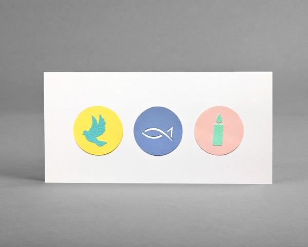 ZART UND PURISTISCH MIT GELBEM KUVERT: Glückwunschkarte für christliche Anlässe inkl. Kuvert