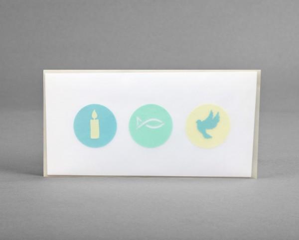 NEON-GLITTER: Glückwunschkarte für christliche Anlässe inkl. Kuvert