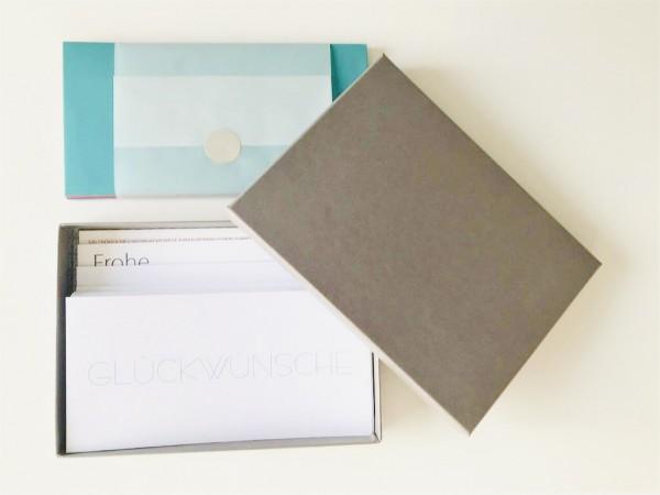 Kartenbox braun: 10 besondere Grußkarten in der edlen artoz Pure Box A5 in brown glow