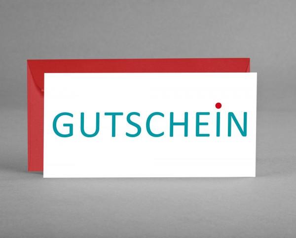 """EDEL: Gutscheinkarte """"Gutschein"""" grün mit rotem Punkt inkl. Kuvert"""