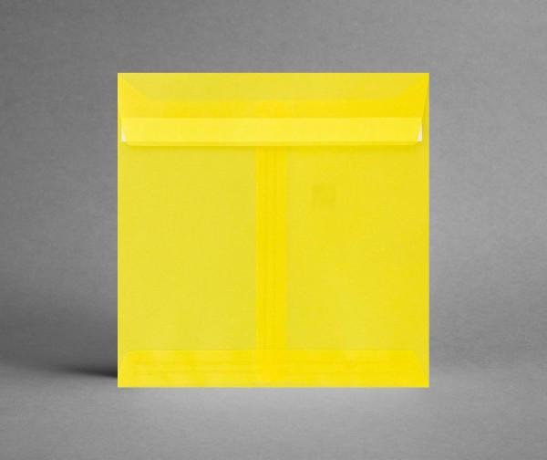 In TRANSPARENT GELB: 5 Kuverts quadratisch 155 x 155 mm, ohne Sichtfenster (Set)