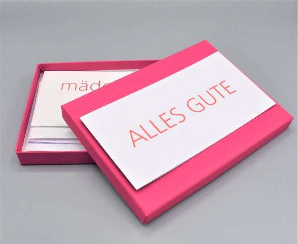 """Kartenbox in fuchsia mit 10 verschiedenen Grußkarten """"Weiße Kollektion 1"""""""