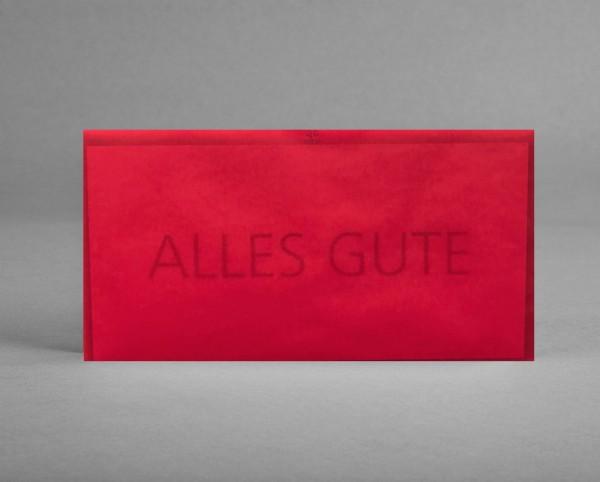 """SCHLICHT IN KIRSCHROT: Grußkarte """"Alles Gute"""" inkl. Kuvert"""