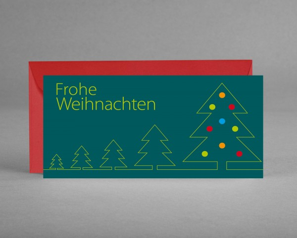 """WEIHNACHTLICH: Weihnachtskarte """"Grüne Bäume mit bunten Kugeln auf tannengrün"""" im roten Kuvert"""