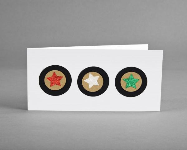 3D GLITZER-STERNE: Weihnachtskarte mit rotem, tannengrünen und weißen Glitter-Sternen