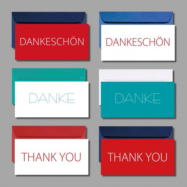 "DANKE SAGEN: Kartenset ""Danke"" inkl. Kuverts (6 Stück)"