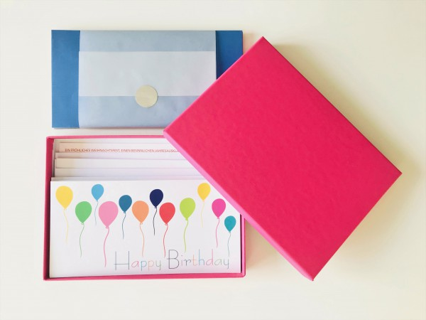 Kartenbox fuchsia: 10 besondere Grußkarten in der edlen artoz Pure Box A5 in pink/fuchsia