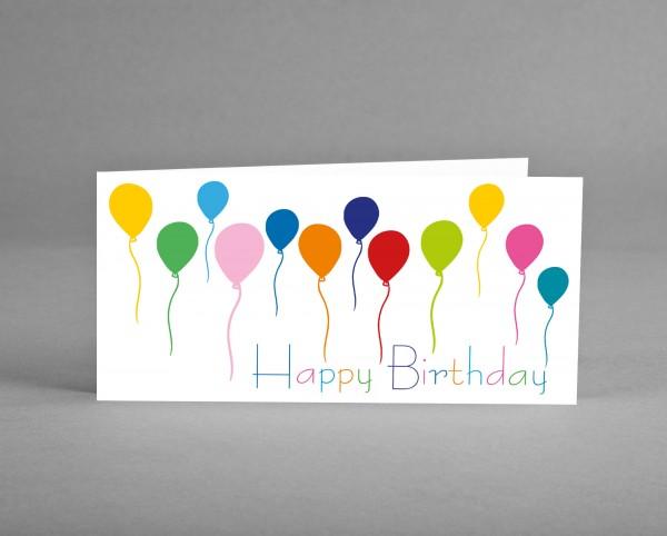 FIRMENGRUSSKARTE MIT LOGO: 25 Glückwunschkarten HAPPY BIRTHDAY auf weiß mit Logo inkl. Kuverts