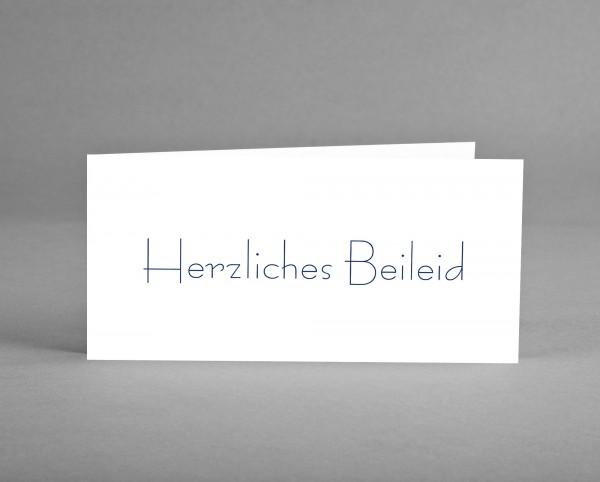 """KLASSISCH: Trauerkarte """"Herzliches Beileid"""" weiß inkl. Kuvert"""