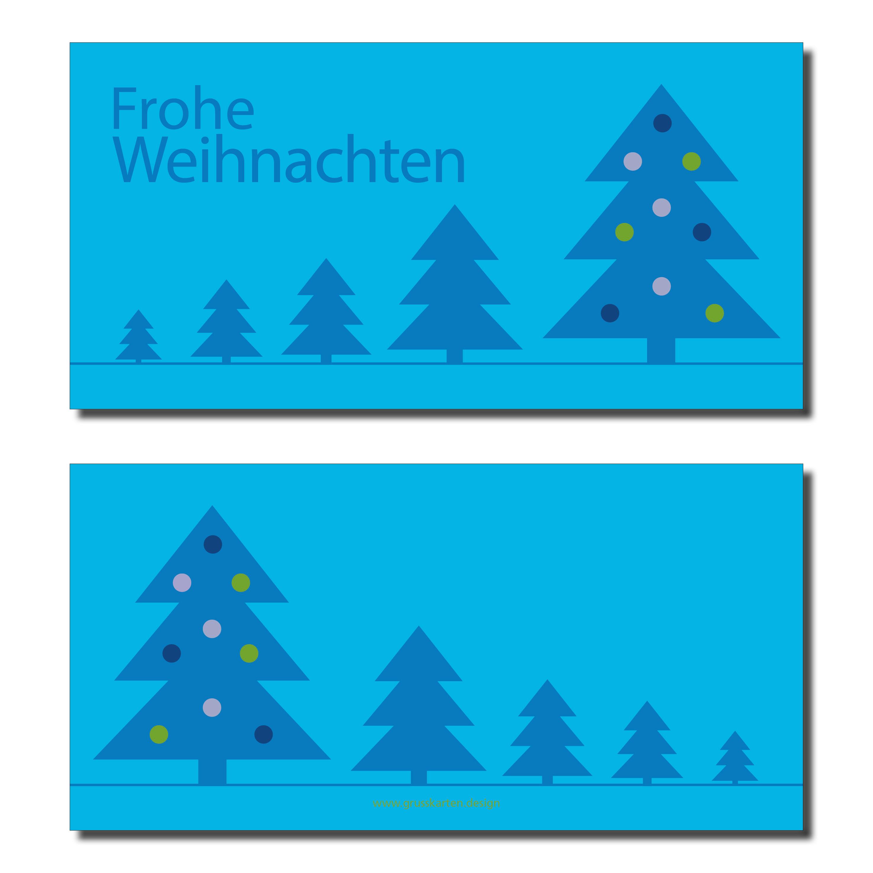 Frohe Weihnachten F303274r Kunden.Mystisch Weihnachtskarte Blaue Weihnachtsbaume Auf Cyan Inkl Kuvert Und Versand