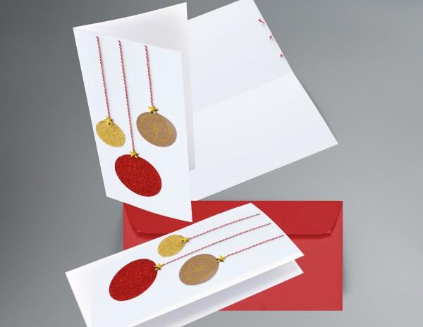ROT-GOLD-GLITZER-KUGEL: Weihnachtskarte mit glitzernden Weihnachtsbaumkugeln inkl. Kuvert