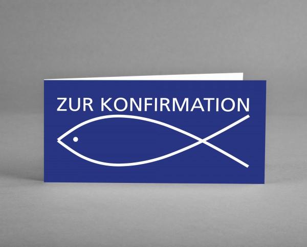 """AUSDRUCKSSTARK: Konfirmationskarte """"Fisch weiß auf blau"""" inkl. Kuvert und Versand"""