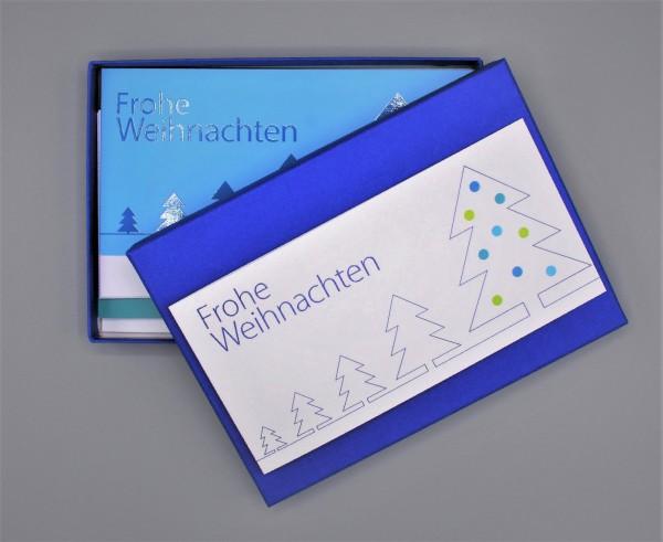 Kartenbox in majestetic blue mit 10 verschiedenen Grußkarten als Mix durch das Jahr