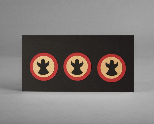 """WEIHNACHTSENGEL III: Weihnachtskarte """"Engel"""" aus Bastelkarton auf schwarz inkl. Kuvert"""