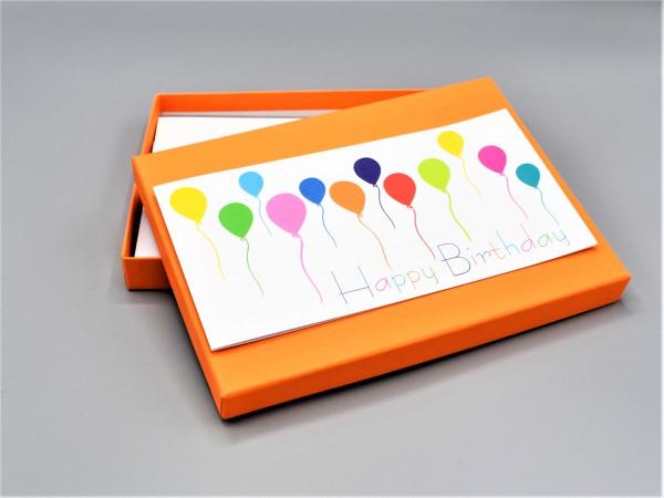 """10 kreative Grußkarten in der artoz Pure Box A5 in """"mandarin"""" als """"Begleiter durch das Jahr 3"""""""