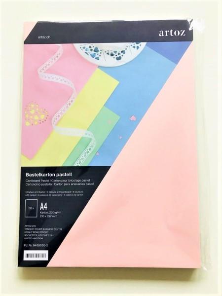 BASTELKARTON PASTELL mit 50 Blatt DIN A4 von artoz