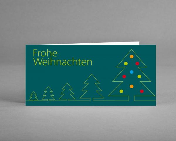 """WEIHNACHTLICH: Weihnachtskarte """"Grüne Bäume mit bunten Kugeln auf tannengrün"""""""