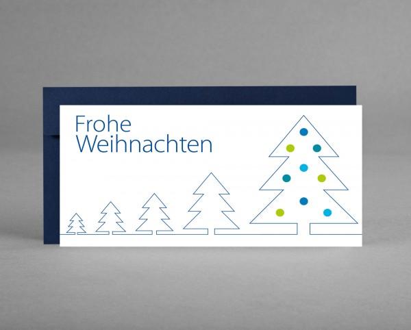 """WINTERLICH: Weihnachtskarte """"Weihnachtsbäume"""" blaue Silhouette inkl. Kuvert"""
