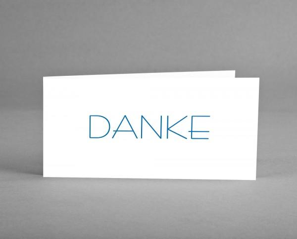 EDEL IN TRANSPARENT: Danke-Karte weiß mit blauer Schrift inkl. weiß-transparentem Kuvert