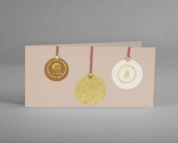GOLDENE GLITZER-KUGEL: Weihnachtskarte mit goldarbiger Glitter-Weihnachtsbaumkugel inkl. Kuvert
