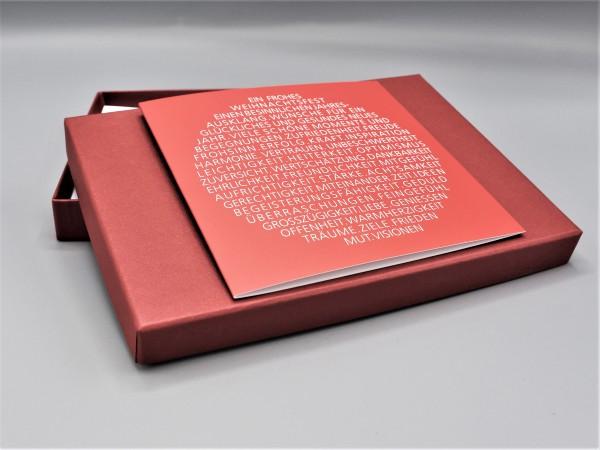 """10 besondere Grußkarten in der artoz Pure Box A5 in weinrot """"rubin"""" """"Begleiter durch das Jahr 2"""""""
