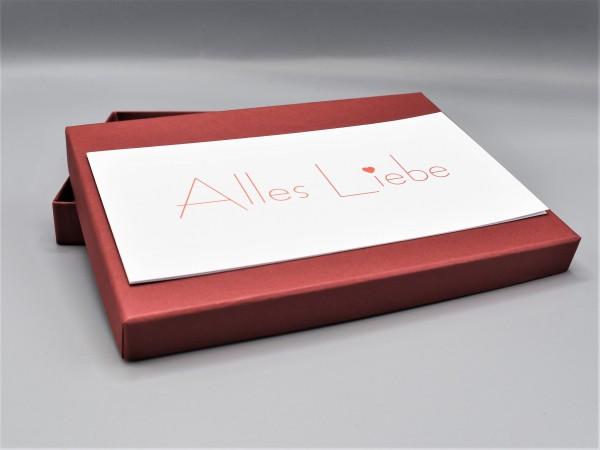 """10 originelle Grußkarten in der artoz Pure Box A5 in weinrot """"rubin"""" """"Begleiter durch das Jahr 1"""""""