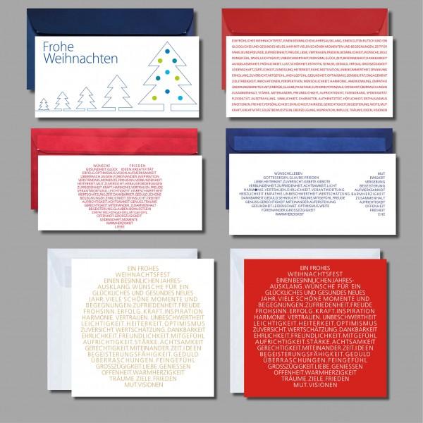 """KLASSISCH MIT LACK: Kartenset """"Weihnachtskarten und Wünsche"""" inkl. Kuverts (6 Stück)"""