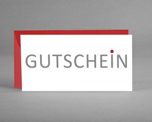 """WIRKUNGSVOLL: Gutscheinkarte """"Gutschein"""" grau mit rotem Punkt inkl. Kuvert"""