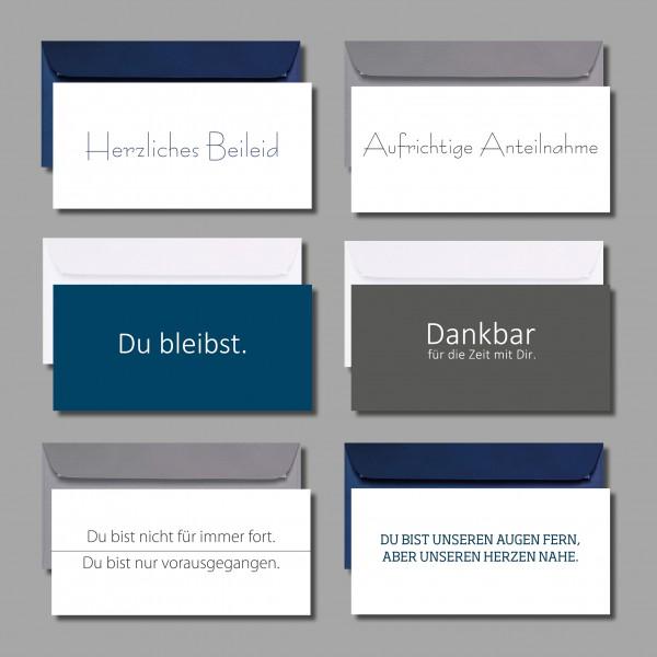 """ALLES ANDERE ALS BIEDER: Kartenset """"Trauer- und Beildeidskarten"""" inkl. Kuverts (6 Stück)"""