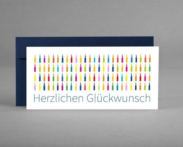 "BUNTE KERZEN IN BLAU: Glückwunschkarte ""Herzlichen Glückwunsch"" mit bunten Kerzen inkl. Kuvert"