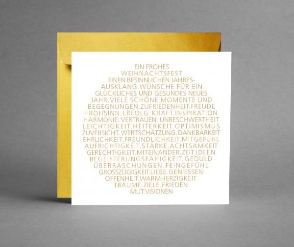 EDEL IN GOLD: Weihnachtskarte Weihnachtsbaumkugel als Text in gold inkl. Kuvert
