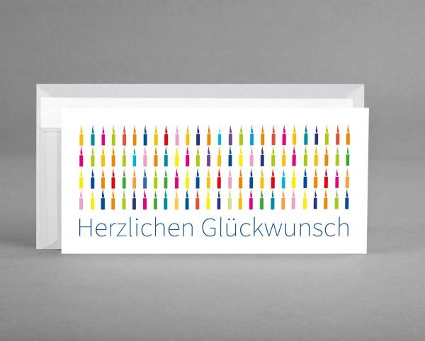 "BUNTE KERZEN IN TRANSPARENT: Glückwunschkarte ""Herzlichen Glückwunsch"" inkl. Kuvert"