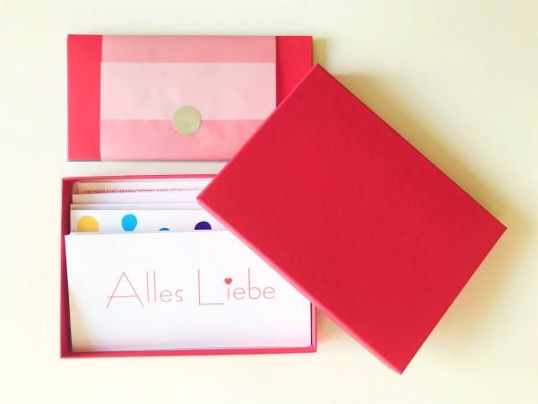 Kartenbox rot: 10 besondere Grußkarten in der edlen artoz Pure Box A5 in rot