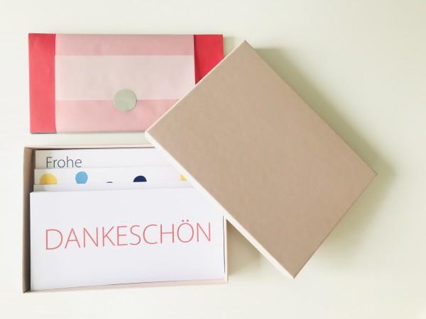 Kartenbox rosé: 10 besondere Grußkarten in der edlen artoz Pure Box A5 in rose glow