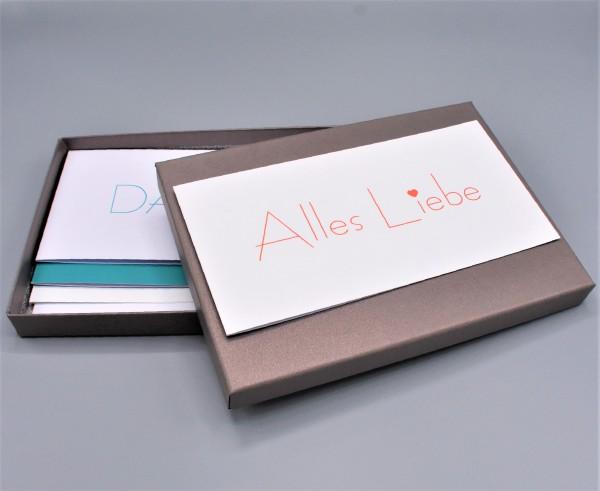 """Kartenbox in brown glow mit 10 verschiedenen Grußkarten """"Weiße Kollektion 2"""""""