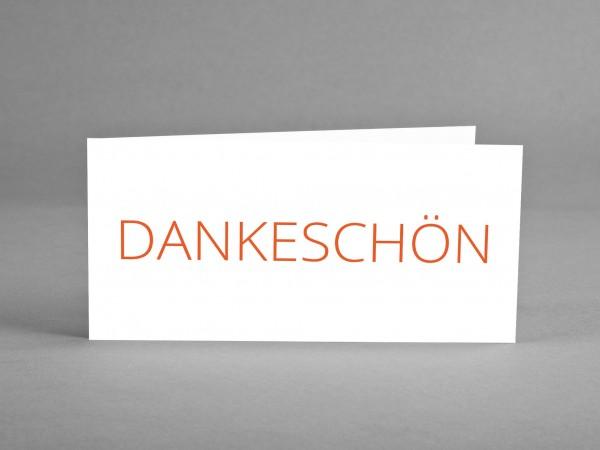 SCHLICHT: Dankeschön-Karte weiß mit orangefarbigem Schriftzug inkl. Kuvert