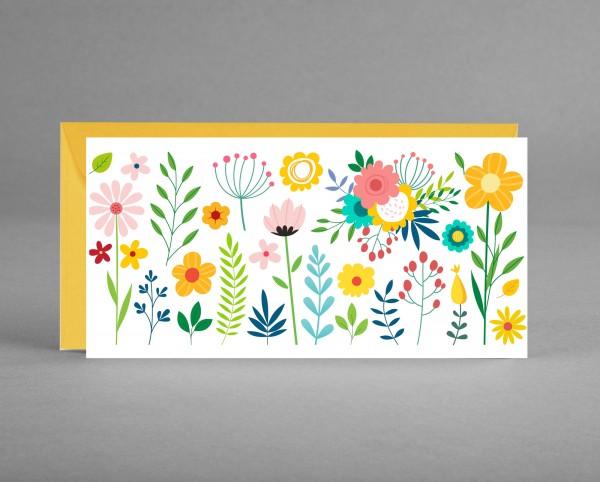 FLORAL IN SONNENGELB: Universelle Einladung-, Gutschein-, oder Glückwunschkarte inkl. Kuvert