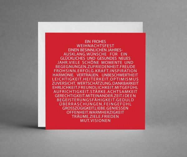 """INSPIRATIV IN TRANSPARENT: Rote Weihnachtskarte """"Weihnachtsbaumkugel als Text """"mit Lack veredelt ink"""