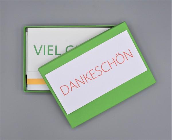 """Kartenbox in maigrün mit 10 verschiedenen Grußkarten """"Bunter Mix durch das Jahr 2"""""""