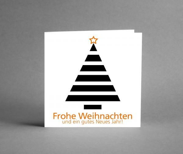 FIRMENGRUSSKARTE MIT LOGO: 25 quadratische Weihnachtskarten WEIHNACHTSBAUM mit Logo inkl. Kuverts
