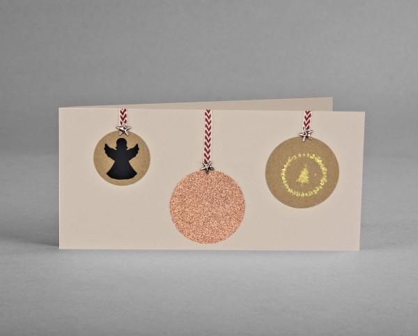 KUPFER GLITZER-KUGEL: Weihnachtskarte mit kupferfarbiger Glitter-Weihnachtsbaumkugel inkl. Kuvert