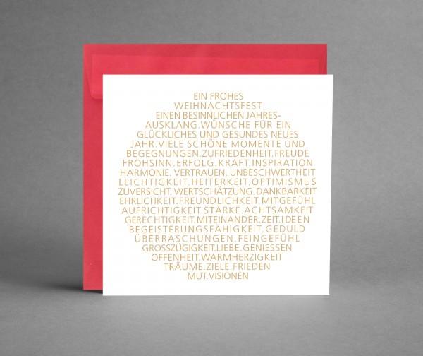 WEIHNACHTLICH IN ROT: Weihnachtskarte Weihnachtsbaumkugel als Text in gold inkl. Kuvert