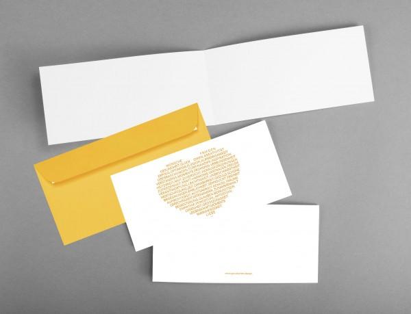 HERZENSWÜNSCHE IN GELB: Glückwunschkarte zum Neujahr, Geburtstag, Muttertag... inkl. Kuvert