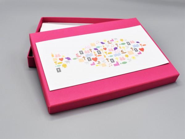 """10 edle Grußkarten in der artoz Pure Box A5 in pink """"fuchsia"""" """"Begleiter durch das Jahr 2"""""""