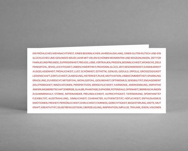 FIRMENGRUSSKARTE MIT LOGO: 25 Weihnachtskarten mit vielen Wünschen auf weiß mit Logo inkl. Kuverts