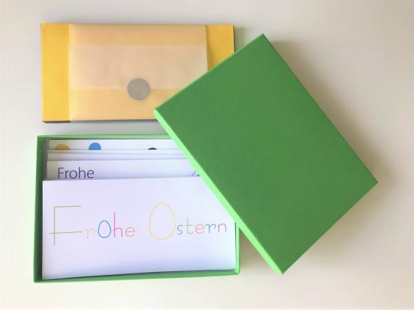 Kartenbox maigrün: 10 besondere Grußkarten in der edlen artoz Pure Box A5 in maigrün