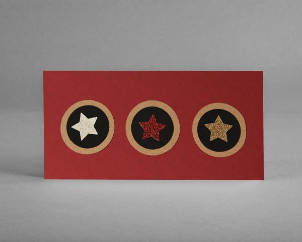 """GLITZERSTERNE I: Weihnachtskarte """"Sterne"""" auf dunkelrotem Bastelkarton inkl. Kuvert"""
