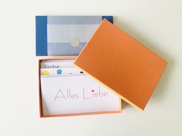 Kartenbox orange: 10 besondere Grußkarten in der edlen artoz Pure Box A5 in mandarin