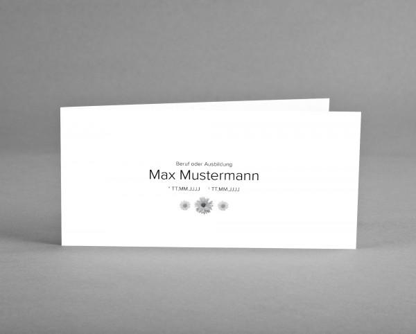 10 INDIVIDUALISIERBARE Trauer-Danksagungskarten mit Symbol Blumen inkl. Kuverts und Versand