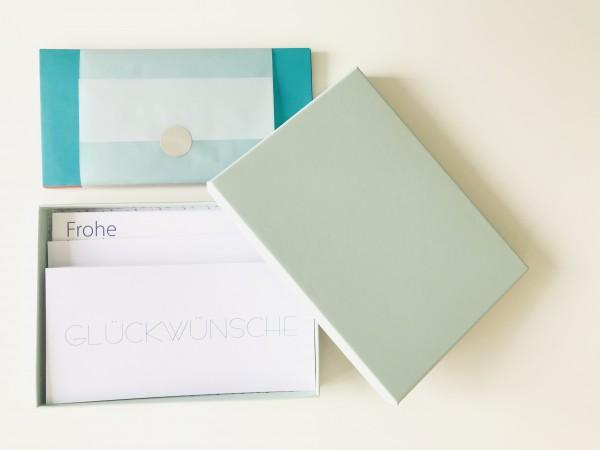 Kartenbox mint: 10 besondere Grußkarten in der edlen artoz Pure Box A5 in mint